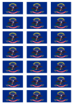 North Dakota Flag Stickers - 21 per sheet